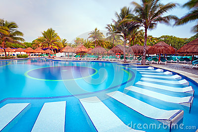 Tropical swimming pool at the morning
