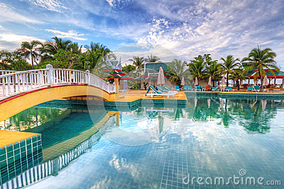 Tropical swimming pool scenery in Thailand