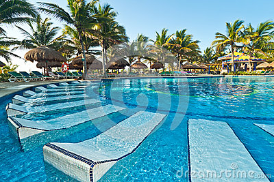Tropical swimming pool with sunbeds