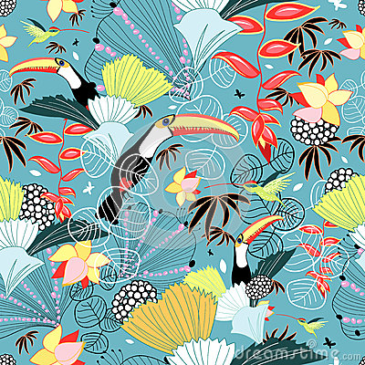 Tropical texture with toucans and hummingbirds