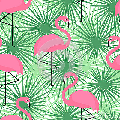 Free Tropical Trendy Seamless Pattern With Flamingos And Palm Leaves. Exotic Hawaii Art Background. Stock Images - 68541554