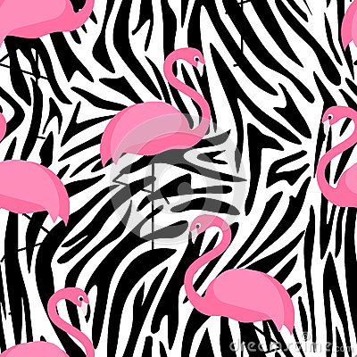 Free Tropical Trendy Seamless Pattern With Flamingos And Zebra Print. Stock Photo - 68541350