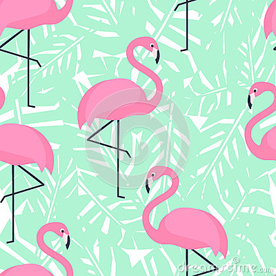 Free Tropical Trendy Seamless Pattern With Pink Flamingos And Mint Green Palm Leaves. Stock Image - 67496501