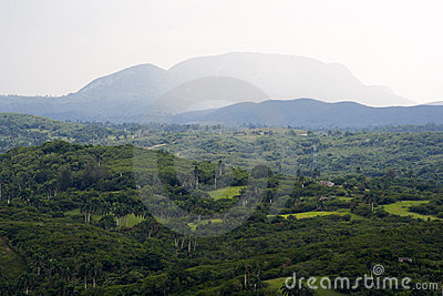 Tropical valley with high mountains