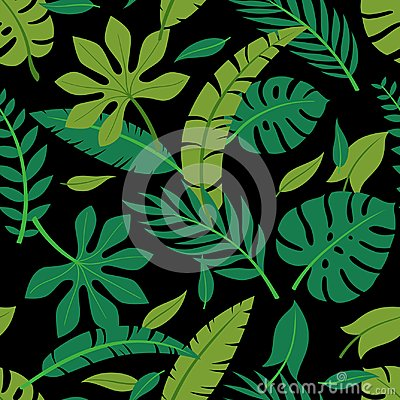 Free Tropical Vector Colorful Leaves Seamless Pattern. Summer Design/ Stock Photo - 121919630