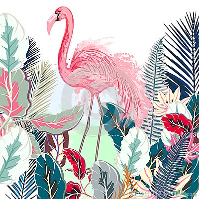 Free Tropical Vector Illustration With Pink Flamingo And Tropical Lea Royalty Free Stock Image - 111845316