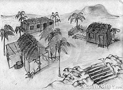 Tropical village - sketch