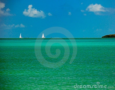 Tropical water and sailboats Florida