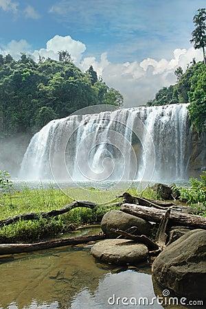 Tropical waterfall in jungle.