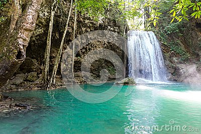 Tropical waterfall and lake