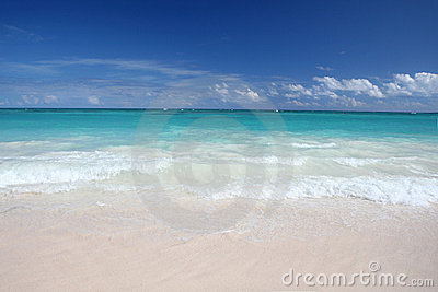 Tropical Waves on White Sand Beach, Ocean
