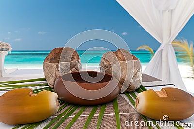 Tropical wedding altar