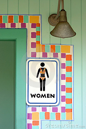 Tropical womens room sign