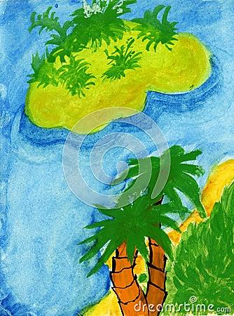 Tropikalny raju dziecka rysunek