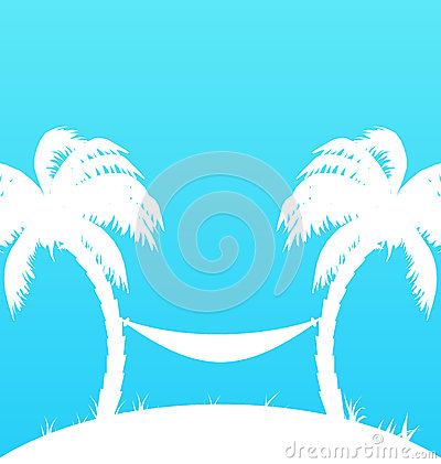 Tropikalny raju tło z drzewkami palmowymi i hamakiem