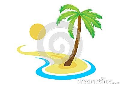 tropische palme auf insel mit meer stockbilder bild 27101904. Black Bedroom Furniture Sets. Home Design Ideas