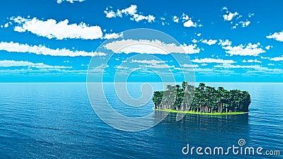 Tropisk ö med palmträd