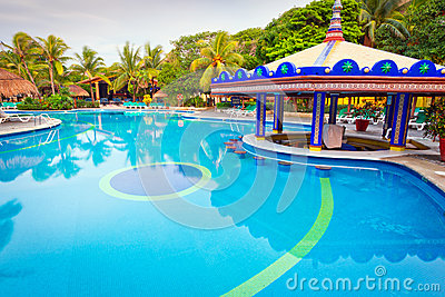 Tropisk simbassäng på morgonen