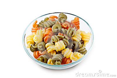 Trottole Tricolore in bowl with clipping path