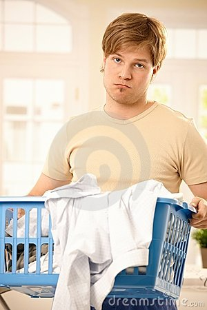 Troubled guy at housework