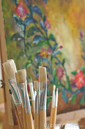 trousse d outils du peintre de diff rents balais d art. Black Bedroom Furniture Sets. Home Design Ideas