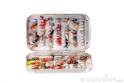Trout flies in a box