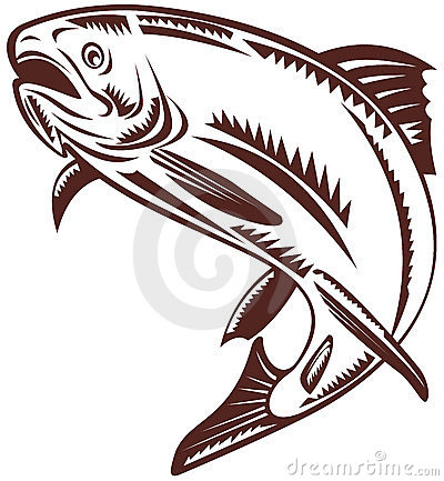 Trout woodcut style