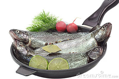 Trouts in a pan
