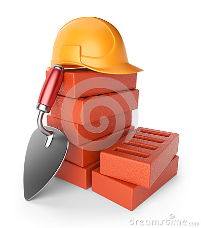 Trowel and bricks. Work equipment. 3D icon