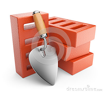 Trowel and bricks. Work tool. 3D icon