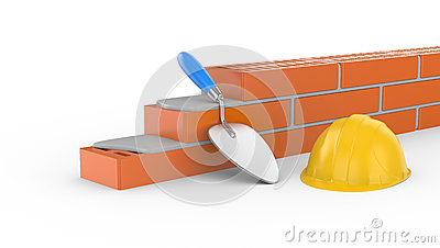 Trowel, helmet and brick