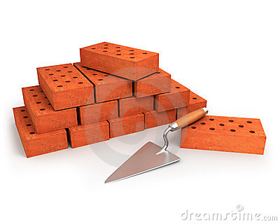 Trowel and stack of bricks