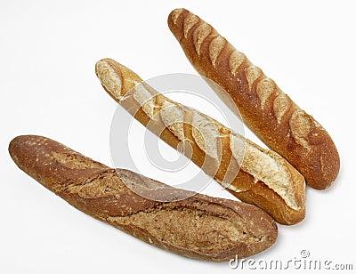 Três baguettes franceses