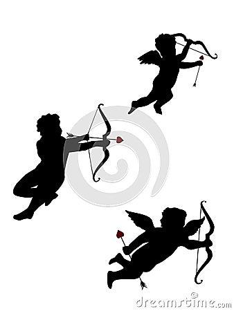 Três Cupids isolados