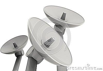 Três pratos satélites