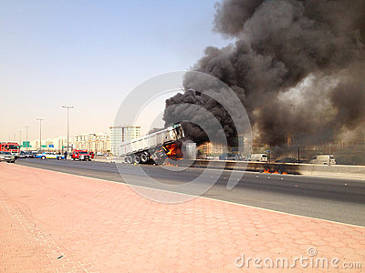 Truck Accident in Farwaniya, Kuwait Editorial Photo