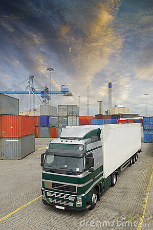 Truck In Busy Container-port Stock Photos - Image: 9541303