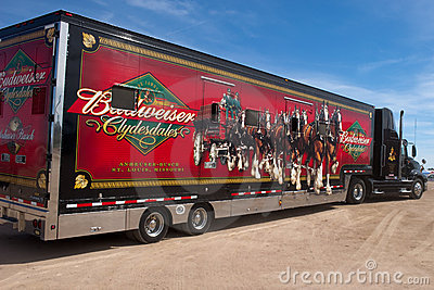 Truck Carrying Budweiser Clydesdales Editorial Image
