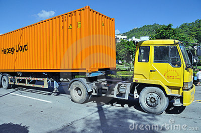 Truck with container Editorial Photography
