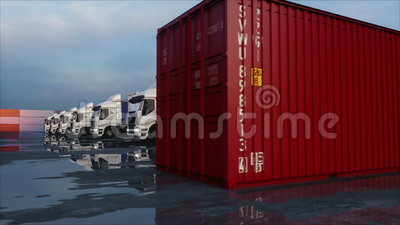 Truck in container depot, wharehouse, seaport. Cargo containers. Logistic and business concept. Realistic 4k animation. Truck in container depot, wharehouse stock footage