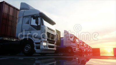 Truck in container depot, wharehouse, seaport. Cargo containers. Logistic and business concept. Realistic 4k animation. Truck in container depot, wharehouse royalty free illustration