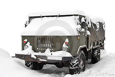 Truck covered with snow