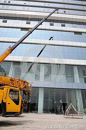 Truck crane on construction site