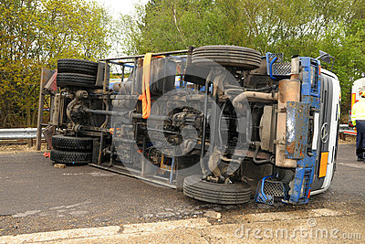 Truck crash roll over Editorial Photo