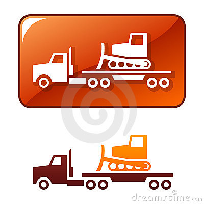 Truck delivers the bulldozer. Vector icon