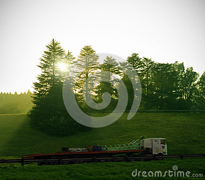 Truck delivery with sun and trees