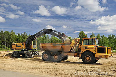 Truck and digger