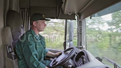 Truck Driver in the Car. Delivery Service stock footage
