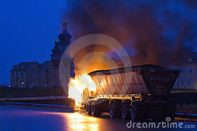 Truck on fire, Markham ON, Cathedraltown Editorial Stock Photo