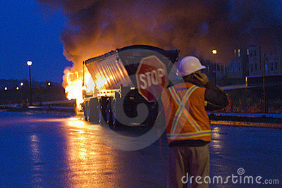 Truck on fire, Markham ON, Cathedraltown Editorial Photography